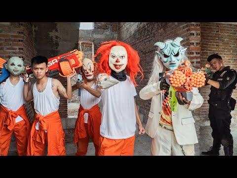 Gugu Films Nerf War : SQUAD Dragon Nerf Guns Fight SKMAN Mask War In Prison And Xicman