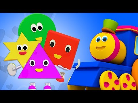 Bob il treno | cinque piccole forme | filastrocche | saltando canzoni | Bob Train 5 Little Shapes