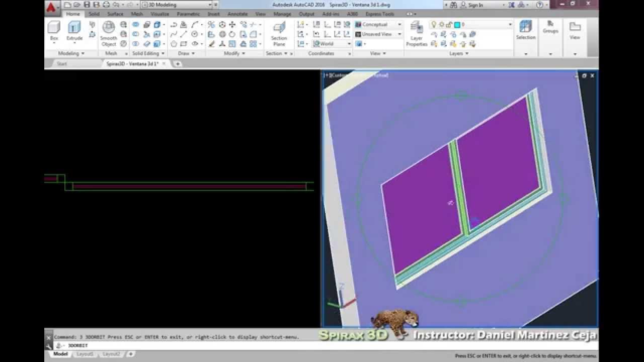 Ventana 3d Corrediza Autocad Youtube
