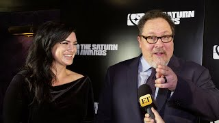 Et's ash crossan spoke with jon favreau and gina carano backstage at the 45th annual saturn awards.