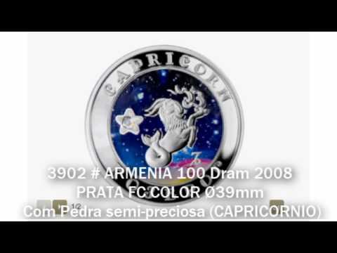 3902 # ARMENIA 100 Dram 2008 PRATA FC COLOR Ø39mm C/ Pedra Semi-preciosa (CAPRICORNIO)
