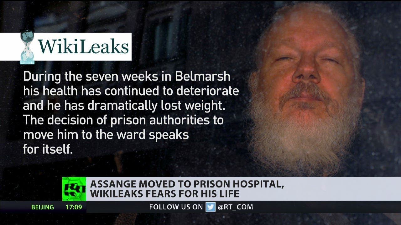 Julian Assange has been moved to hospital unit at Belmarsh RT UK 6/1/2019