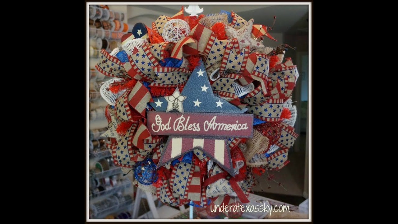 Poly Burlap Mesh Patriotic Wreath Tutorial Youtube
