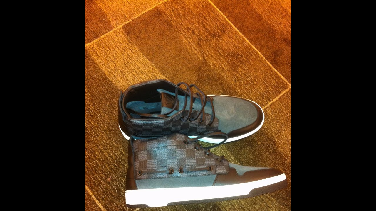 fdaee6209627e UNBOXING Louis Vuitton Propeller sneaker boot in Damier Canvas with Suede  Calf Leather Trim