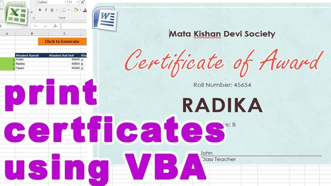 how to print certificates using vba free download vbatip 29