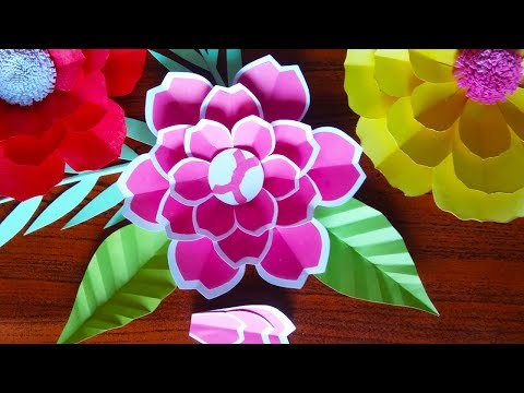 Make a Pretty Paper Flower With Self-made for Wall Decorations | Diy Making Paper Flowers