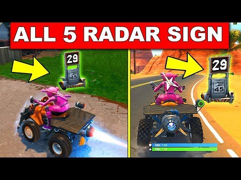 Record a Speed of 27 or more on Different Radar Signs - ALL 5 LOCATION WEEK 5 FORTNITE