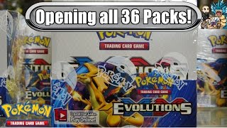 early xy evolutions booster box opening all 36 packs pokemon tcg unboxing