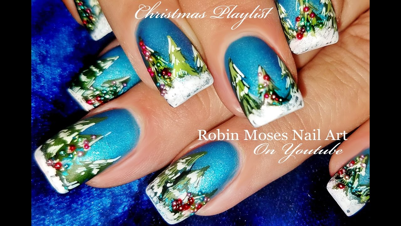 DIY Xmas Tree Nails | Christmas + Winter Nail Art Design Tutorial ...