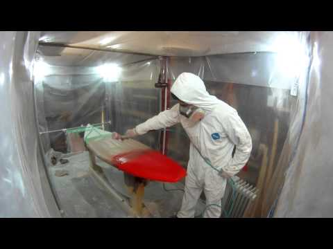 How to Build a Shortboard Surfboard - 31 - Custom Paint Work Over Hotcoat Red Part 2