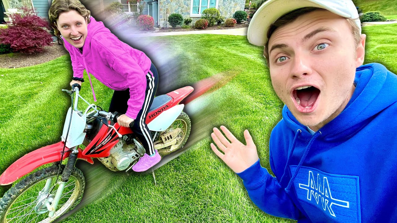 Teaching My Sister Grace Sharer To Ride a Dirt Bike