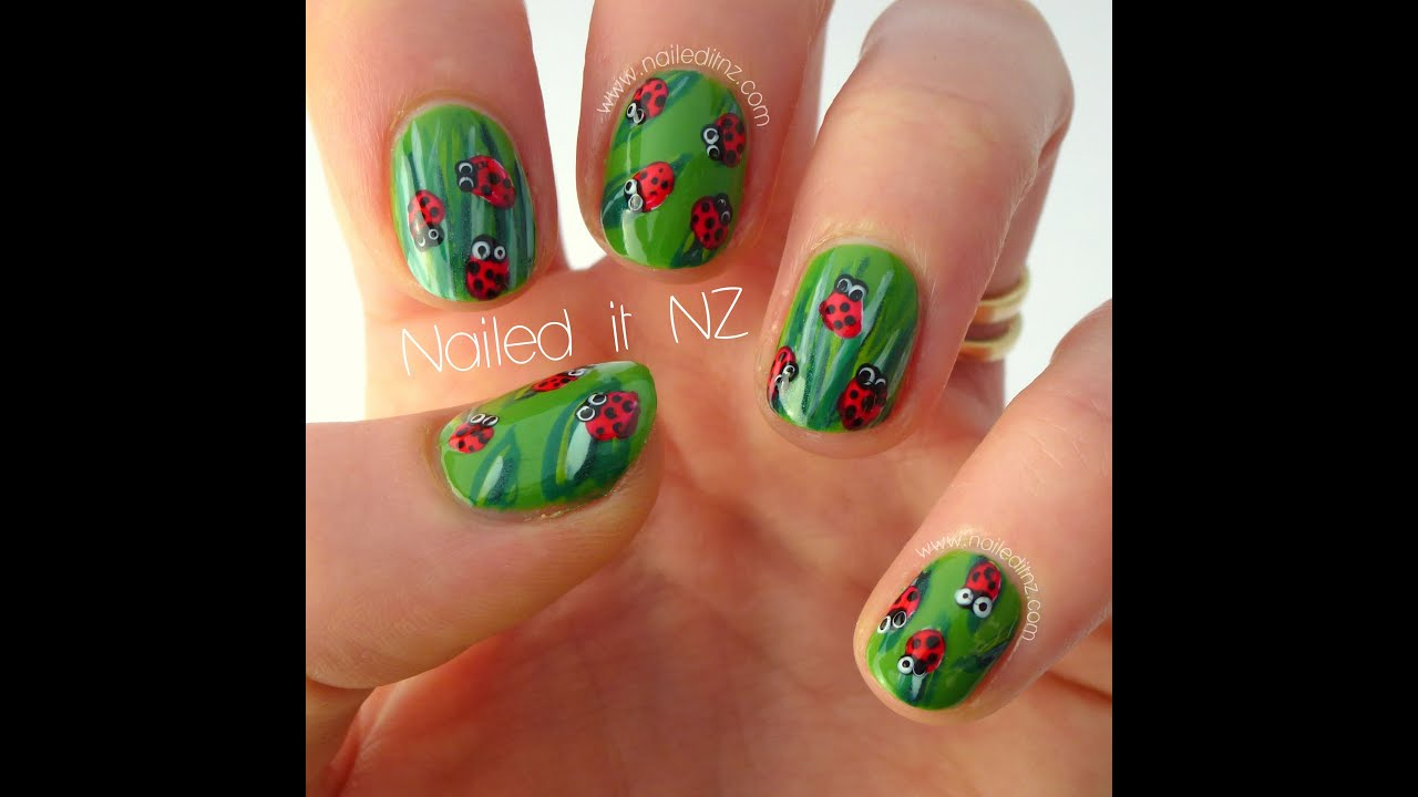 Ladybug nail art - super cute and original! - YouTube