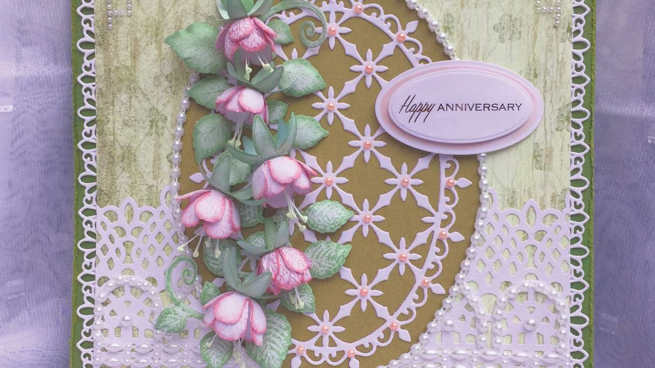 How to make an anniversary card with handmade fuchsias