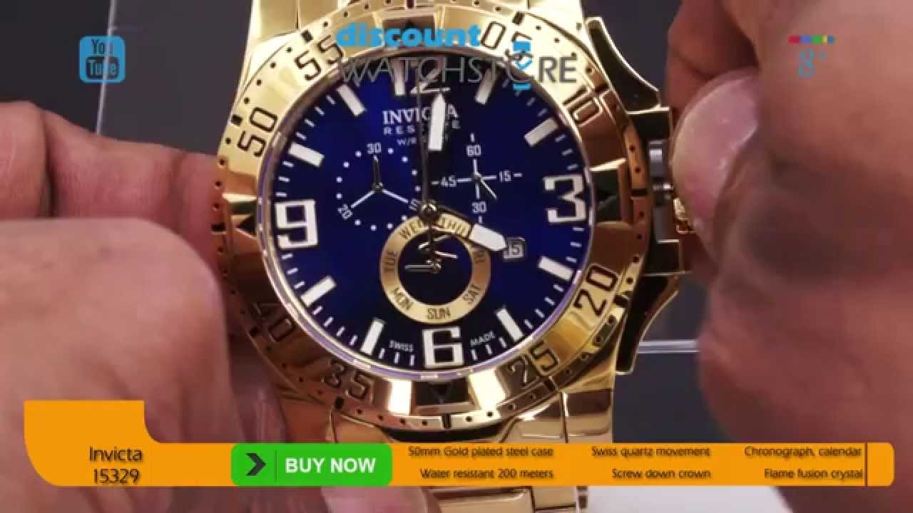 10e4ee29027 Invicta 15329 Men s Excursion Chronograph Blue Dial Gold Plated Dive Watch  Review Video