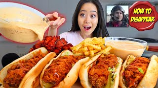 SPICY CHICKEN TENDER SANDWICH + WINGS dipped in CHEESY QUESO MUKBANG