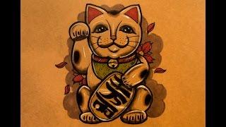How to Draw a Beckonin Cat (Maneki Neko)