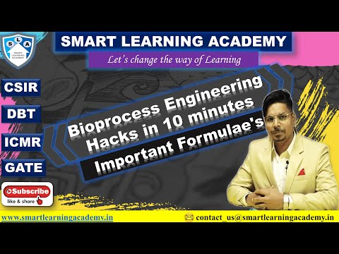 BIOPROCESS ENGINEERING FORMULAE (All in 9 min.)| GATE BIOTECHNOLGY| DBT-JRF| SHORT NOTES
