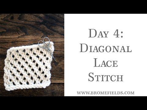Day 4 Diagonal Lace Knit Stitch Youtube