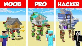 Minecraft Noob Vs Pro Vs Hacker Walking House Build Challenge In Minecraft  Animation