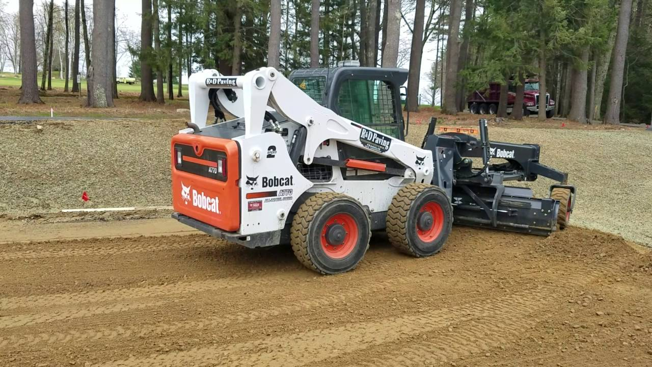 R U0026d Paving Grading With Bobcat A770 And Grader Attachment