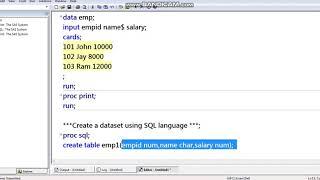 ERSTELLEN SIE EINE TABELLE MIT SAS, SQL & R