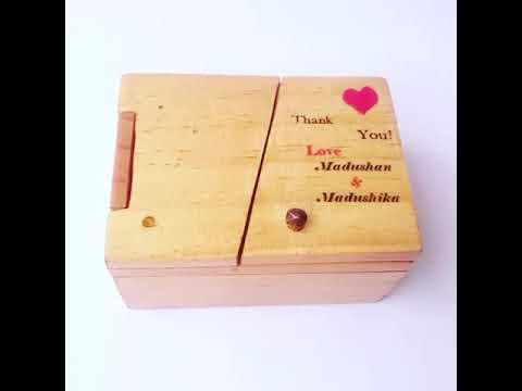Wooden wedding cake boxes and invitations @Sri lanka