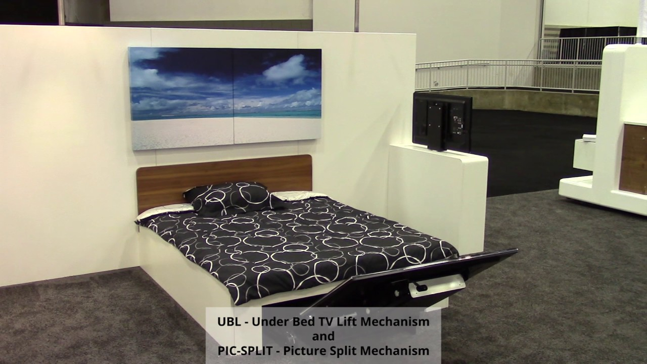 future automation ubl under bed tv lift and pic split. Black Bedroom Furniture Sets. Home Design Ideas