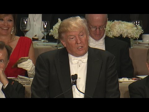 Trump roasts Clinton at Al Smith charity dinner