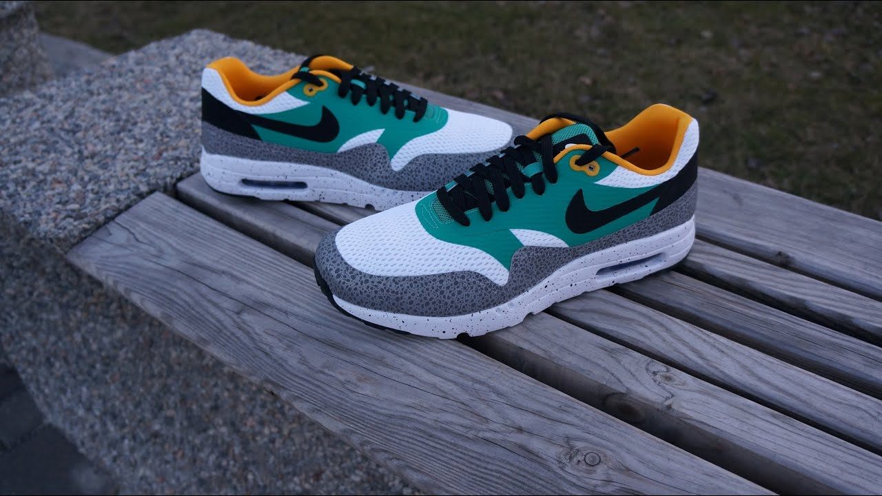 nike air max 1 green grey white paint