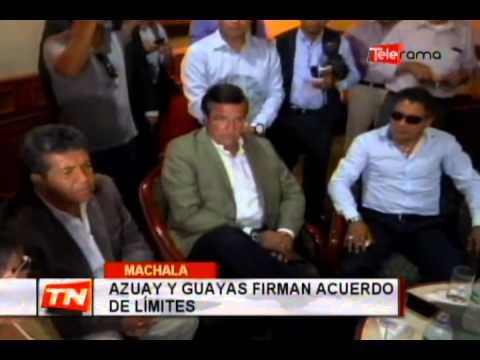 Azuay y Guayas firman acuerdo de límites