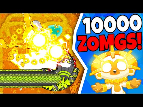 Bloons TD 6  10000 ZOMGS VS Sun God Temple *NOT CLICKBAIT*