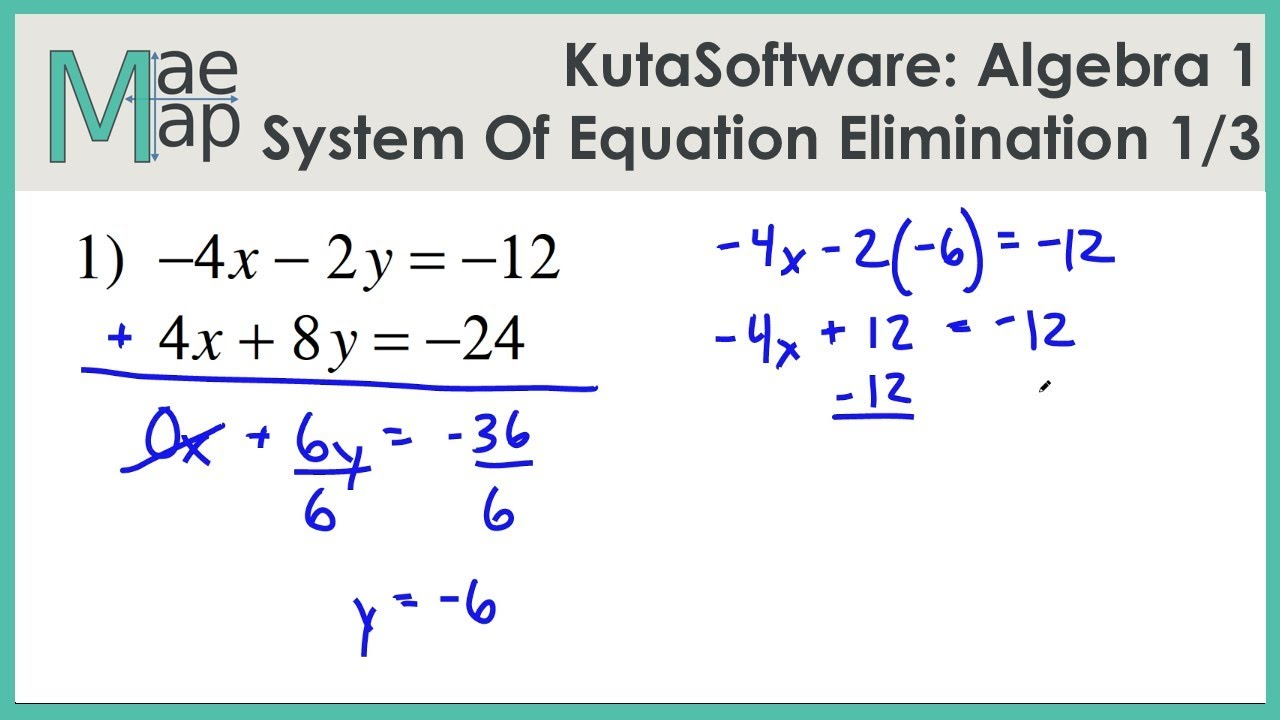 Kutasoftware Algebra 1 System Of Equations Elimination Part 1 Youtube
