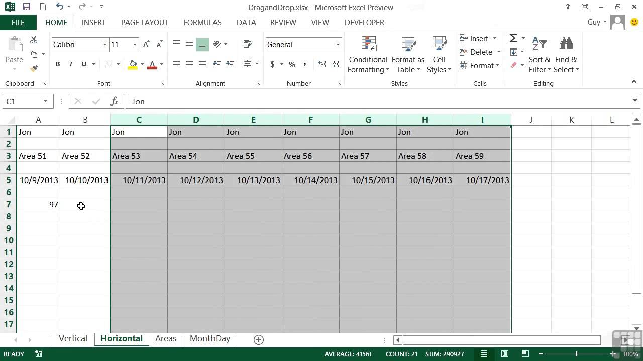 Microsoft Excel 2013 Tutorial The Fill Handle Youtube