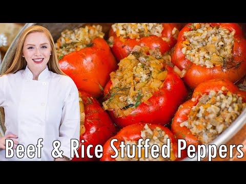 Easy Meat & Rice Stuffed Peppers thumbnail