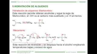 Adición de agua a alquenos (hidratación de alquenos)