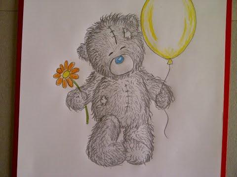 Рисуем мишку Тедди с шариком и цветком. Уроки рисования. Просто