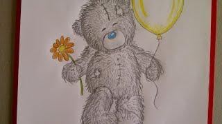Рисуем мишку Тедди с шариком и цветком. Уроки рисования. Просто(Здравствуйте! Предлагаю вашему вниманию видеоролик, где я показываю, как очень просто нарисовать плюшевого..., 2015-06-23T13:40:55.000Z)