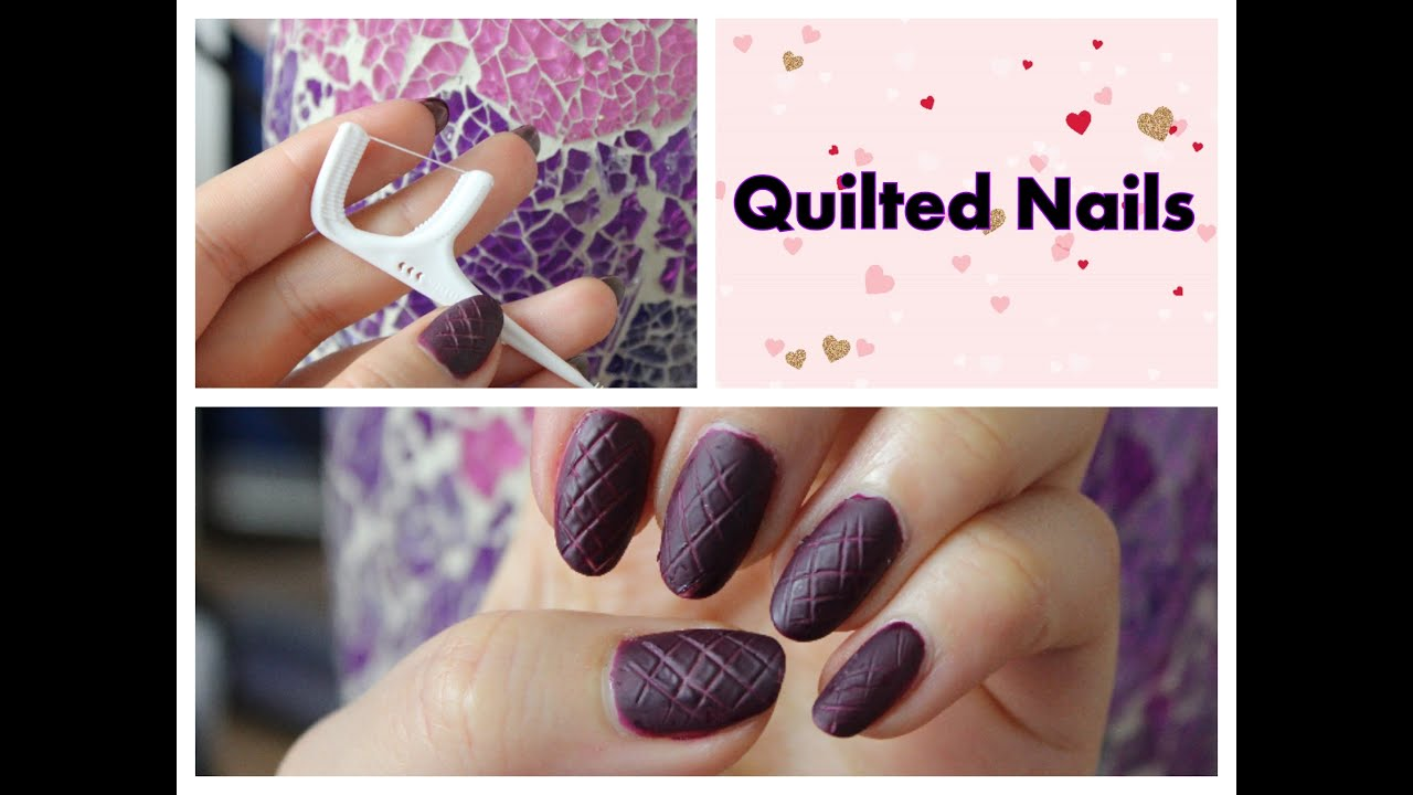 Quilted nails - nailart with Dental Floss - YouTube
