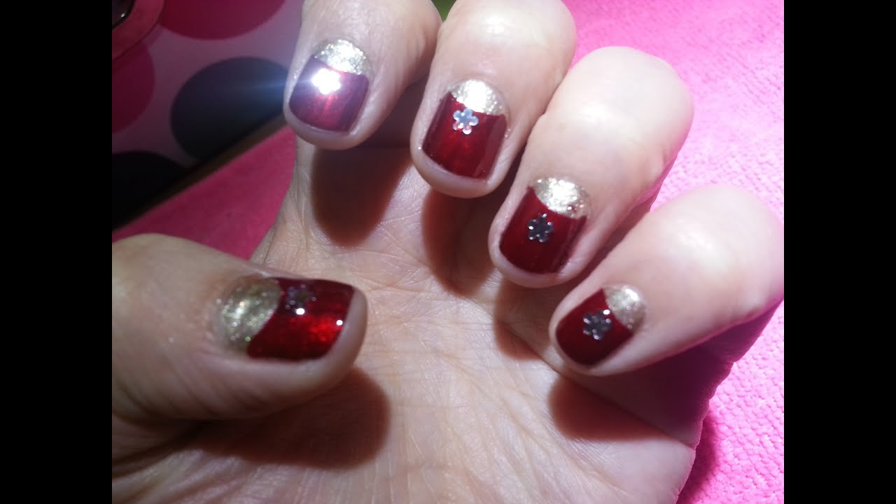 U as nails rojo con dorado f ciles r pidas y bonitas youtube - Unas bonitas y faciles ...