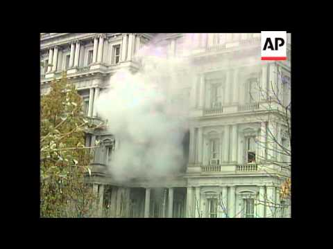A fire breaks out at the Eisenhower Executive Office Building adjacent to the White House, sending t