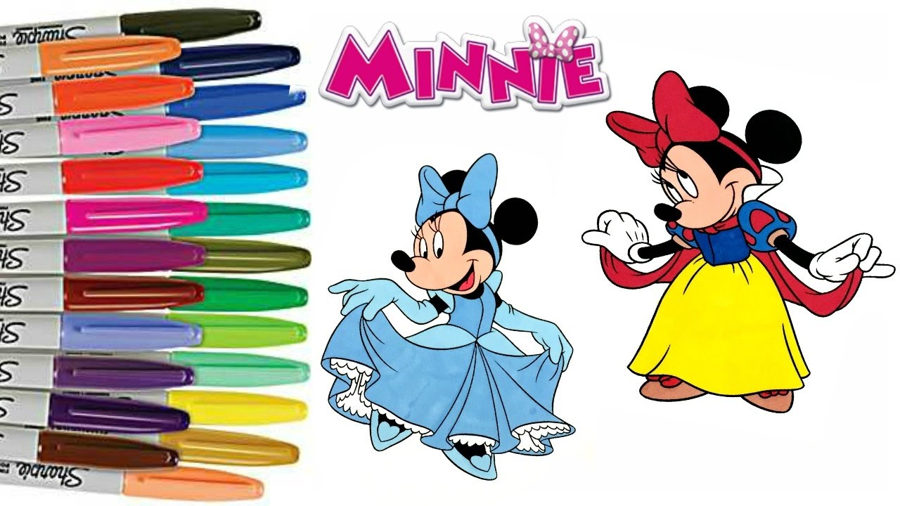 Disney Minnie Mouse Coloring Book Princess Cinderella Snow White Sprinkled Donuts