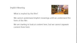 Form and Meaning in Film