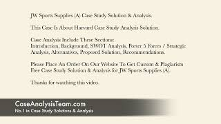 JW Sports Supplies (A) Case Study Solution & Analysis