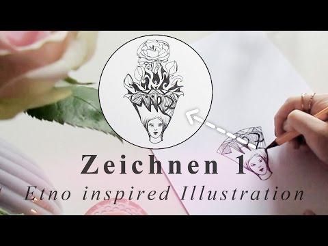 Etno Illustration // Bullet Journal Doodle Ideen // Gesicht zeichnen lernen Tutorial für Anfänger