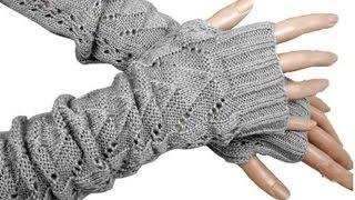 Обзор №14. Теплые перчатки без пальцев связаны в резинку (митенки)