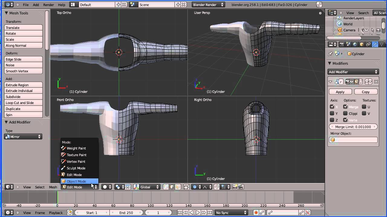 Blender 2 64 Character Modeling Tutorial Part 2 : Blender tutorial using mesh modelling to create the
