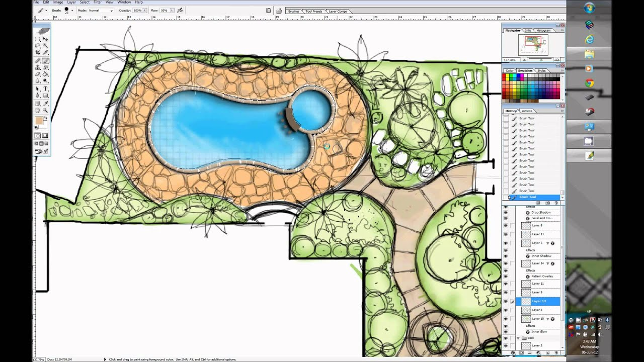 One minute villa garden design wacom cintiq 24dh youtube for Landscape villa design