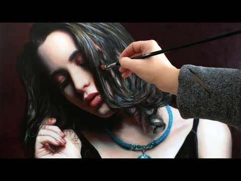 TIME LAPSE HYPERREALISTIC ART OIL PAINTING VIDEO - woman portrait by Isabelle Richard