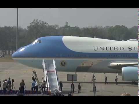 PM Modi welcomes Donald Trump at Ahmedabad airport in Gujarat, India