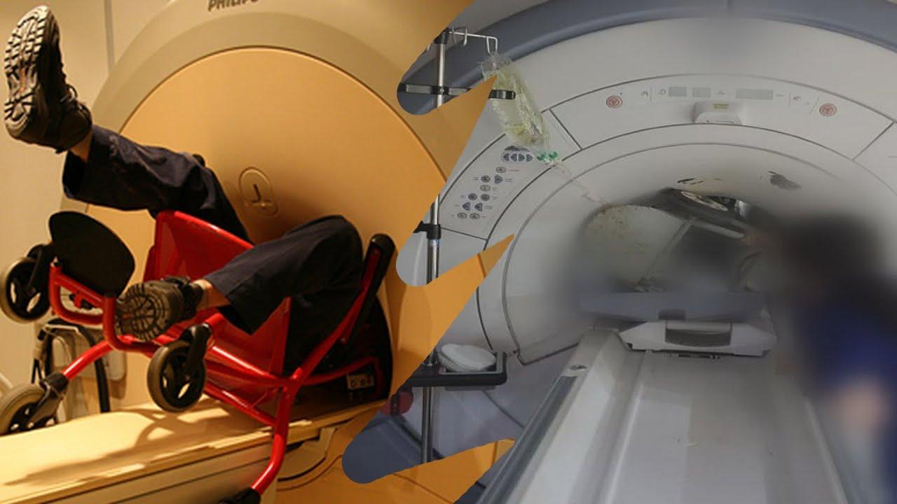 아니 대체 어떡하면 산소통이 MRI에 끼지??